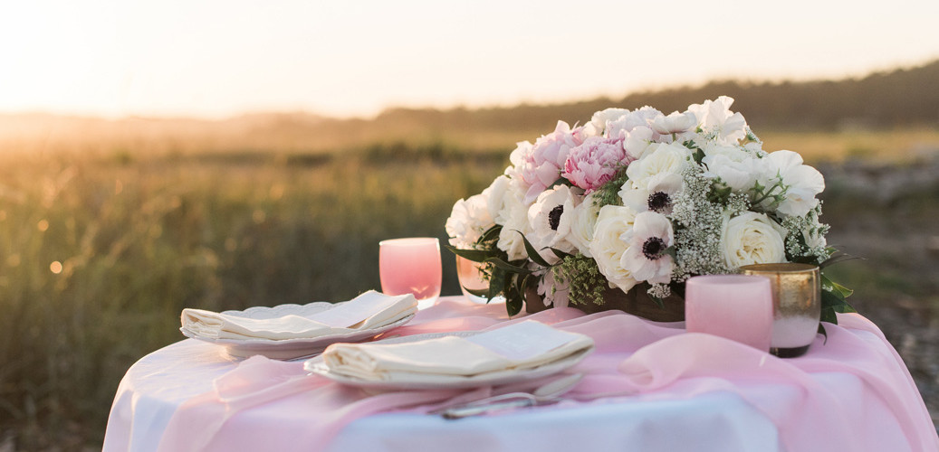Bella Fiori, Anacortes Island Wedding, blush floral centerpiece with peonies, white garden roses, white panda anemones, and Queen Anne