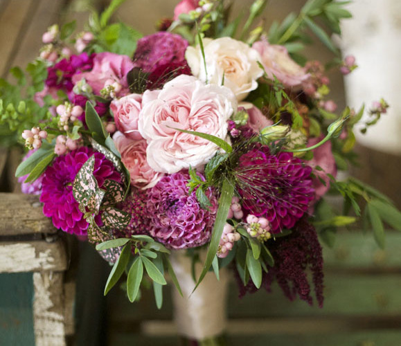 Bella Fiori, Woodinville Washington Wedding Florist - bridal bouquet of pink and magenta flowers - garden roses, dahlias, berries