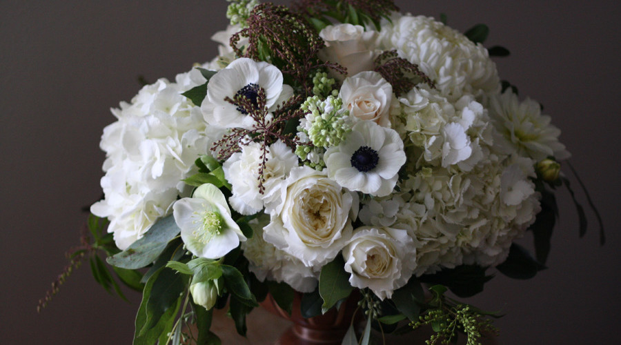 Bella Fiori Wedding Florist for Washington Weddings; flower arrangement with white hydrangeas, white garden roses, hellebores, panda anemones and lilacs