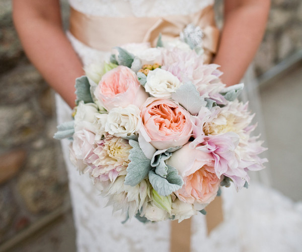 Bella Fiori Wedding Flowers, Washington State, Bridal bouquet with cafe au lait dahlias, david austin Juilet garden roses, dusty miller - blush and peach bridal bouquet
