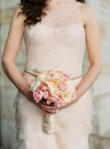 Bella Fiori - Washington State - Blush Bridal Bouquet with ranunculus and lisianthus