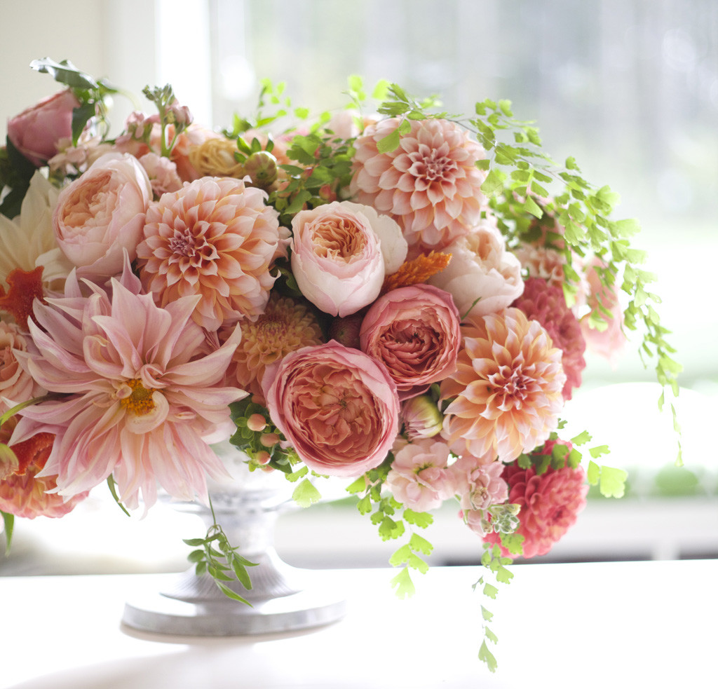 Bella Fiori Washington - Wedding Flowers - Peach Compote with dahlias and garden roses