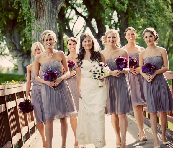 Bella Fiori Seattle Wedding Flowers - burgundy and plum bridesmaids bouquets, bride is carrying a bouquet of panda anemones and burgundy ranunculus