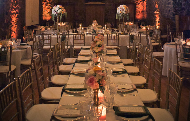 Bella Fiori, Wedding Florist, Wedding reception with candlelight and blush flowers