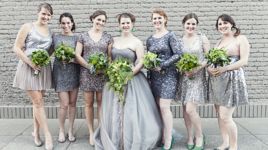 Bella Fiori Washington State, wedding in sonoma, california - green bridal bouquets with grey dresses